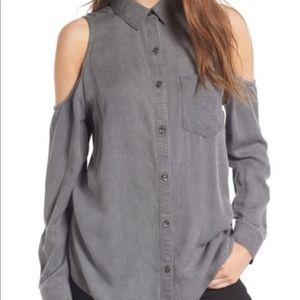BP gray cold shoulder button up size M